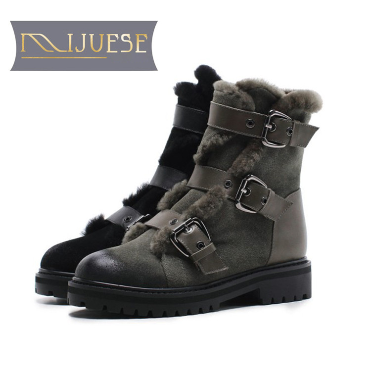 MLJUESE 2019 women Mid calf boots cow Suede green color buckle strap fur warm winter short plush women martin boots size 34-42 marulong s0002 women s fashionable flower pattern short sleeved nightdress green multi color