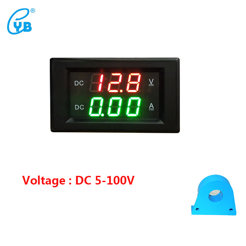 YB4835HVA DC Voltmeter Ammeter DC5-100V Hall DC LED Digital Voltage Current Dual Meters Digital Voltmeter Ammeter Tester Black стоимость