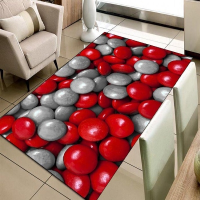 Else Red Gray Circle Pebble Stones Geometric 3d Print Non Slip Microfiber Living Room Decorative Modern Washable Area Rug Mat