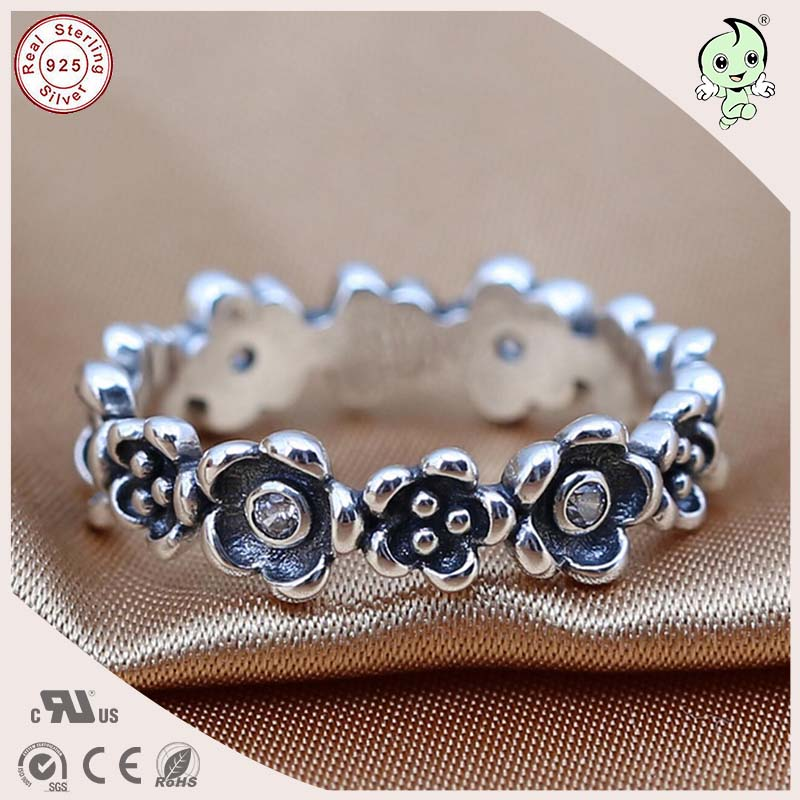P&R products New Arrvial Good Quality European Famous Retro 925 Sterling Silver Link Flower Party Ring for women