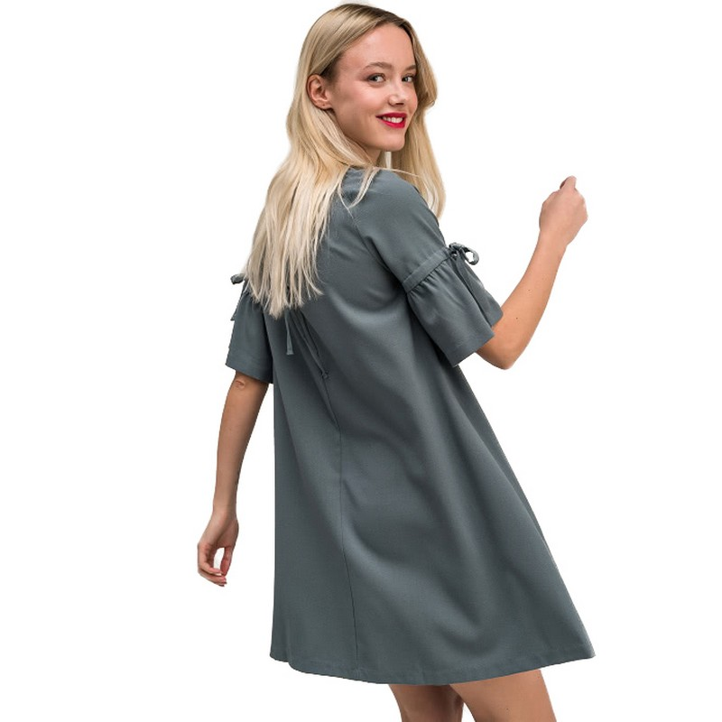 Dresses dress befree for female  half sleeve women clothes apparel  casual spring 1811347569-12 TmallFS slit sleeve asymmetrical plain chiffon dress