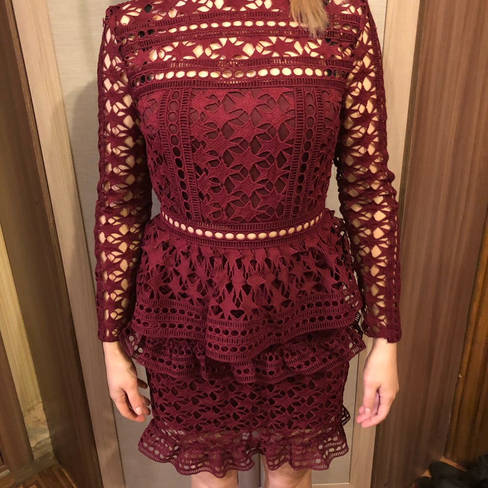 46feb29820a8 49 reviews for Simplee Elegant hollow out ruffle lace dress Women vintage  long sleeve slim short dress Sexy christmas party dress vestidos