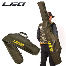 Leo Army Green Foldable Big Belly Fishing Rod Soft Bag Protable Durable 1/1.5m Two Layer Fishing Tackle Carrier Bag Canvas