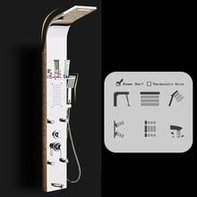 Нержавеющая сталь осадков душ панель массажный дождь системы с струями и ручной душ, термостатический Multi функция, светодиодный экран