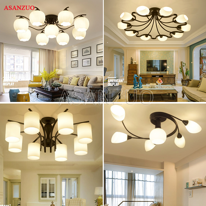 American Ceiling Light Vintage Lamps For Living Room Iluminacion Ceiling Light Wrought Iron Luminaria Home Lighting Fixtures E27American Ceiling Light Vintage Lamps For Living Room Iluminacion Ceiling Light Wrought Iron Luminaria Home Lighting Fixtures E27