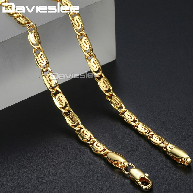 Davieslee Womens Necklace Snail Link 585 Rose Gold Filled Chain Necklaces for Women Jewelry Gift 4.5mm 45cm 50cm DLGN216