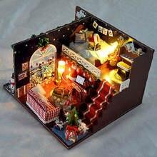 Миниатюрный Рождественский карнавальный ночной кукольный домик DIY деревянный кукольный домик с светодиодный осветительный прибор наборы DIY Подарочные игрушки для детей