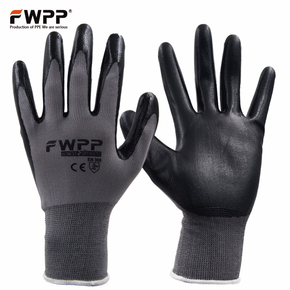 FWPP 12 Pairs Nylon Knit Nitrile Coated Work Gloves Garden Gloves Gray Black Medium Large Extra-large oil free comfortable cheap nitrile gloves white nylon knitted hands protection gloves white mechanic construction industry