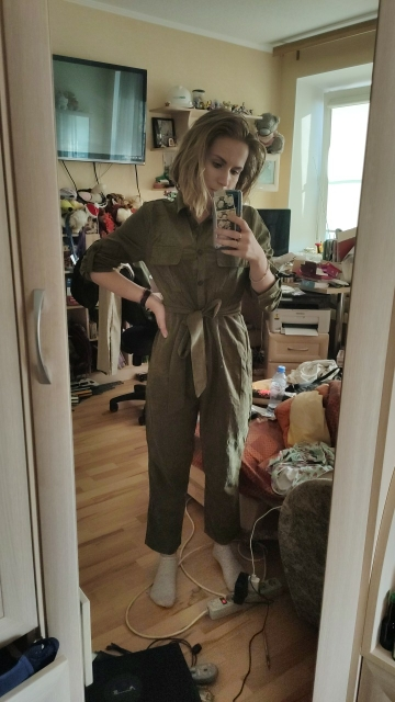 Army Green Casual Button Shirt Jumpsuit Women Roll Up Sleeve Tapered Jumpsuits Mid Waist Belted Tooling Jumpsuit photo review
