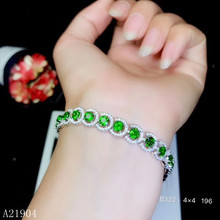 KJJEAXCMY boutique jewelry 925 sterling silver inlaid natural green diopside gemstone female bracelet support detection