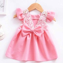 2018 Summer tops The New listing Baby Girl Dress Sleeve Lace Butterfly Fly Back Qrincess Of Children Party decoration Dresses