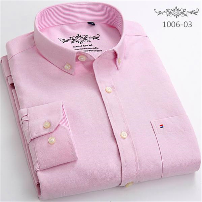 2018 New Spring Autumn Oxford Mens Shirts Long Sleeve Cotton Casual Shirt Solid Plaid Camisa Big Size Camisa Social Masculina