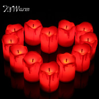 KiWarm 12PCS LED Tea Light Tear Drop Candle Tealight Flameless Flickering Battery Operated For Home Wedding Party Holiday Decor