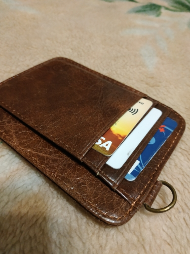 2019 new Genuine Leather Key Ring Coin Bank Card Case Thin Card Wallet Men Business ID Credit Card Holder Cards Pack Cash Pocket photo review