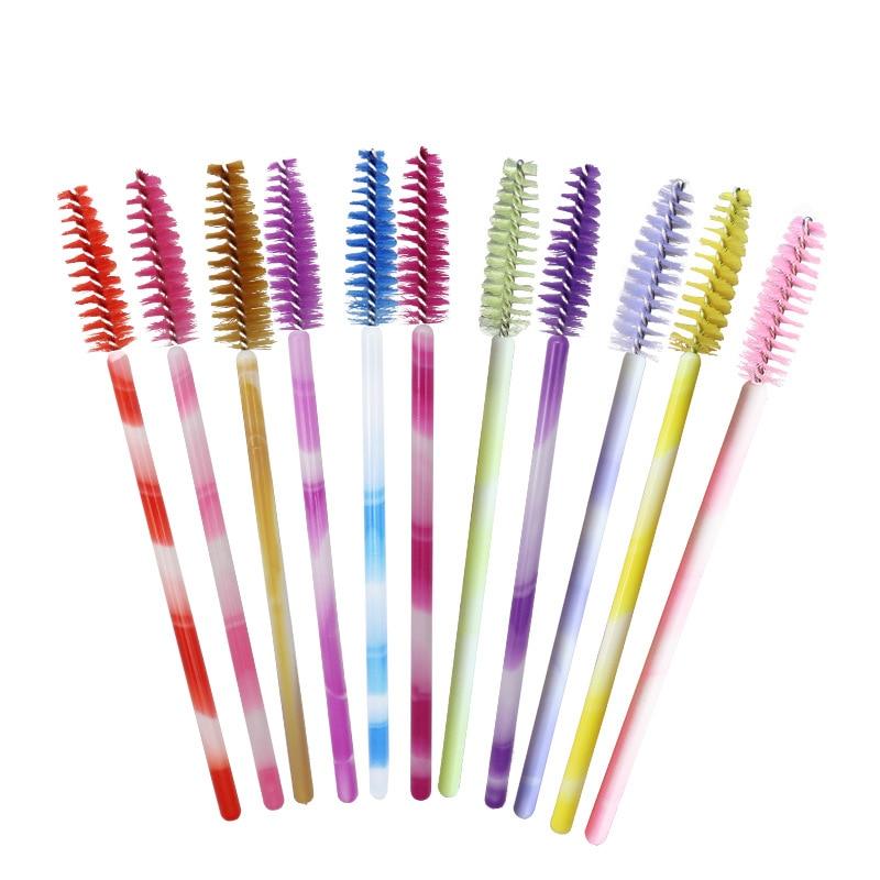 500pcs/lot Colorful One-off Lash Brush Mascara Wands Mini Beautiful Disposable Eyelash Brushes Eyelash Extension Tools