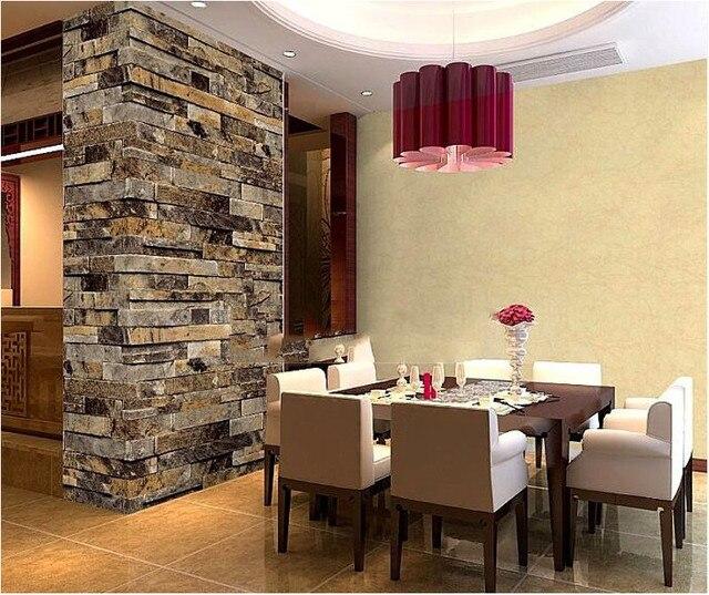 Modern stacked brick 3d stone wallpaper roll grey brick for Stone wallpaper for living room