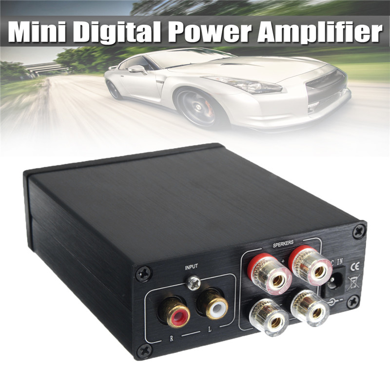 Mini Digital Power Amplifier HiFi TPA3116 Class 2.0 Audio Stereo 2-Channel 100Wx2 Black Mini Home Aluminum Enclosure Amp