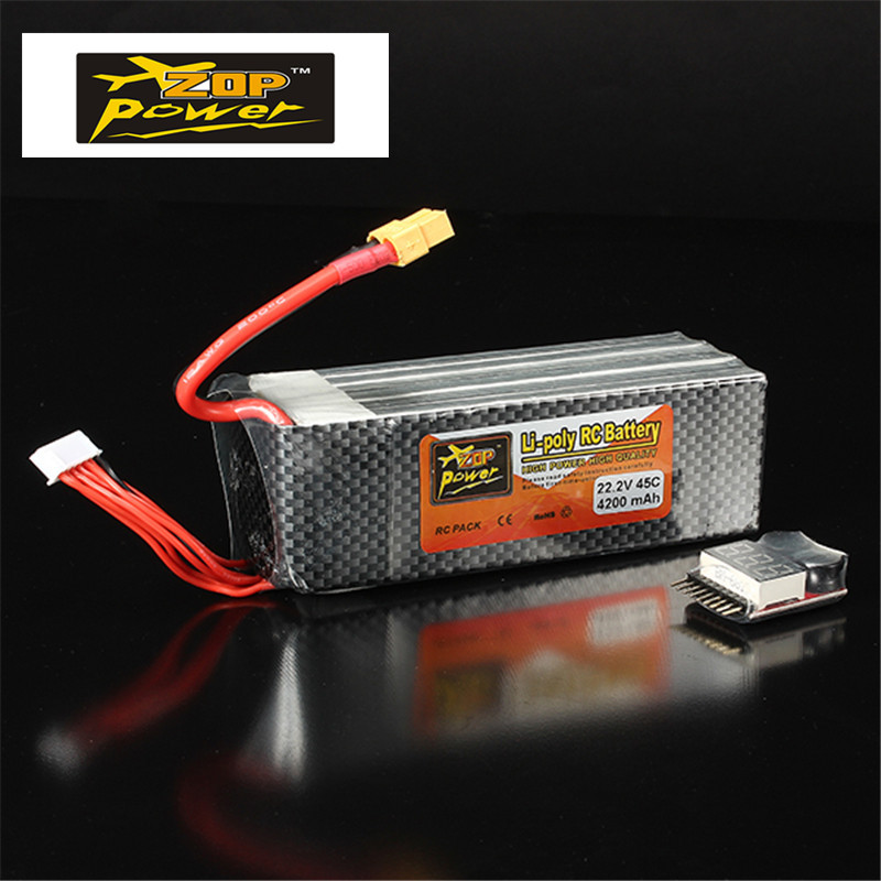 High Quality Rechargeable ZOP Power 22.2V 4200mAh 6S 45C Lipo Battery XT60 Plug With Battery Alarm Buzzer RC Helicopter Access rc model 2s 3s 4s detect lipo battery low voltage alarm buzzer