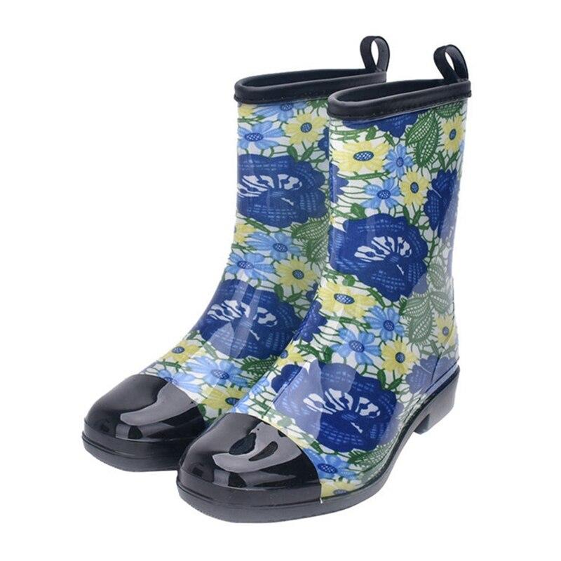 H296 093 0518 Blue Imperméables Bottes Caoutchouc Mode Anovishan mollet Bleu Botas Dames grey Mi De En Pluie Mujer Femmes 2018 Chaussures 067 Occasionnels fBUU1ST