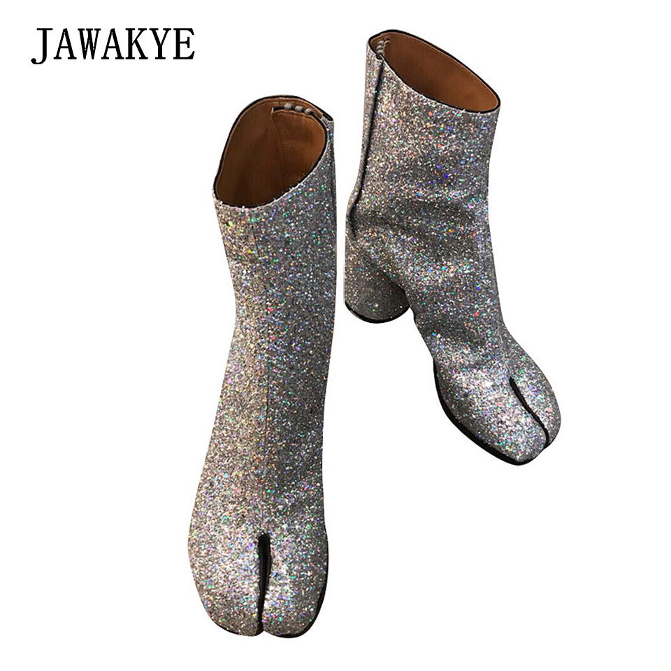 b10aa9831ad0f US $80.4 33% OFF|New Sexy Split toe Glitter Ankle Boots Women Silver Round  Chunky High heel Shoes Bling botas largas mujer Short Motorcycle Boots-in  ...
