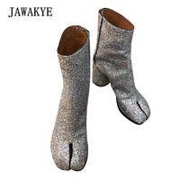 New Sexy Split toe Glitter Ankle Boots Women Silver Round Chunky High heel Shoes Bling botas largas mujer Short Motorcycle Boots