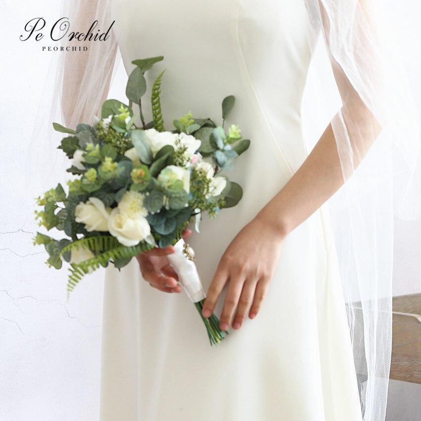 Bouquet de mariée Style jardin orchidée Rose fleurs artificielles Bruids Boeket Boho Bouquet de mariage vraie touche Bouquet d'eucalyptus