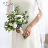 PEORCHID Garden Style Bridal Bouquet Rose Flowers Artificial Bruids Boeket Boho Wedding Bouquet Real Touch Eucalyptus Bouquet