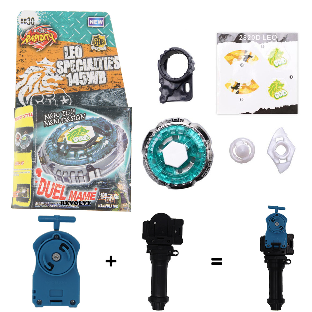Rock Leone BB-30 BEYBLADE Masters Fusion Metal+GRIP+BLUE SPIN LAUNCHER