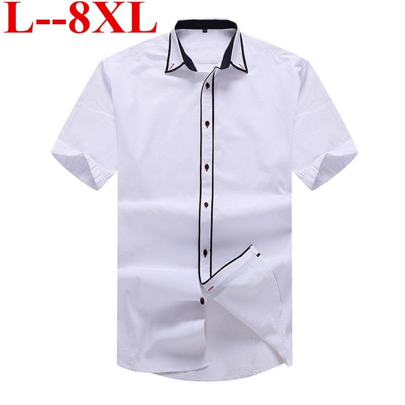 Plus size 9XL 8XL 7XL 2018 new Mens Summer Business Shirt Short Sleeves Turn-down Collar Tuxedo Shirt Shirt Men Shirts Big Size