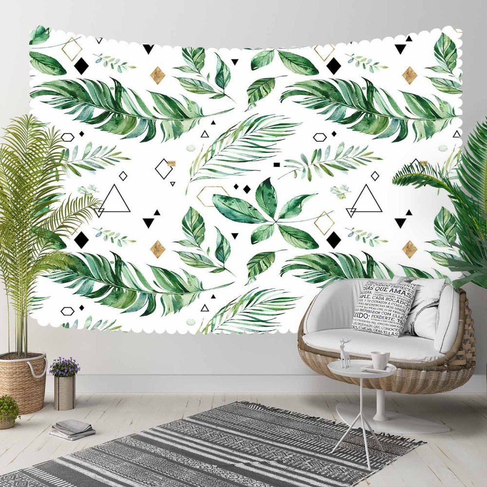 Else Tropical Green Tree Leaf Yellow Black Triangels 3D Print Decorative Hippi Bohemian Wall Hanging Landscape Tapestry Wall Art