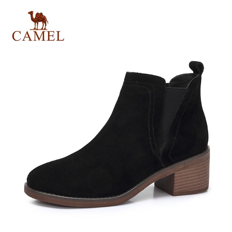 Plataforma Black Botas De Para Mujeres Retro Gamuza Zapatos Ocio Mujer Moda creamel Tacón Las Británicos Camello Tobillo Los Invierno xP8fTTX