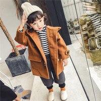 Children Girls Wool Coats Winter Girls Thick Clothing Outerwear 3 7 Years Kids Horn Button Jackets