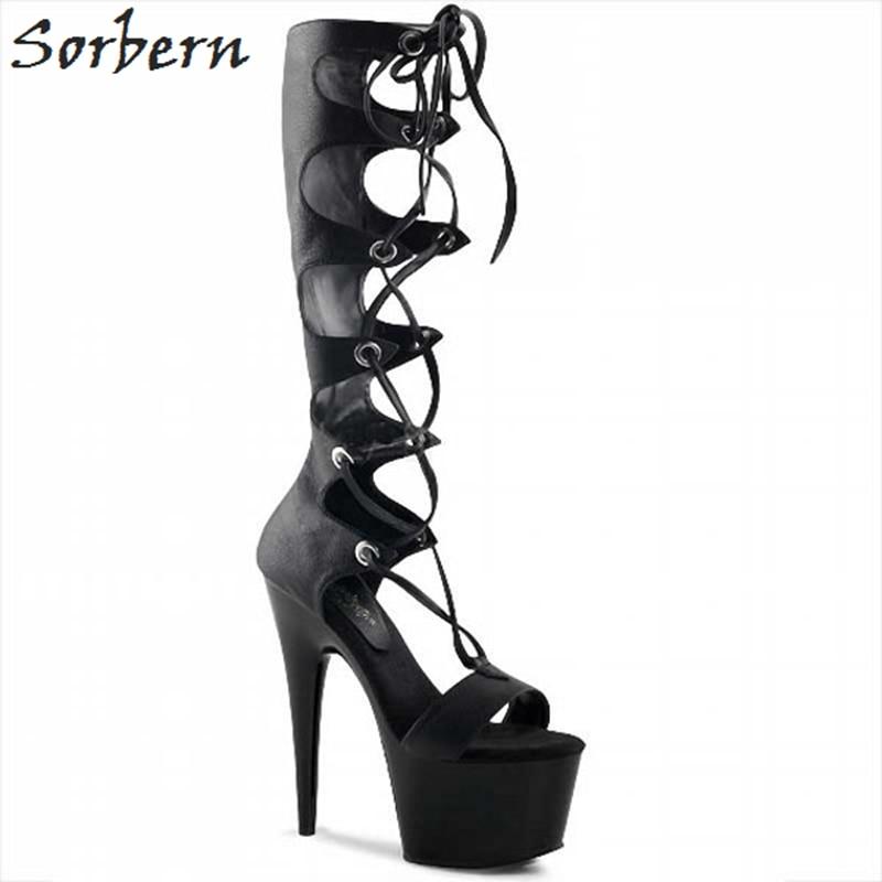 Sorbern Black Gldiator Style Sandals For Women Spike High Heels 15Cm Heeled Platform Sandals Ladies Summer Shoes Females 2018