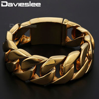 Davieslee Mens Biker Wristband Gold color Round Curb Link 316L Stainless Steel Bracelet Bangle (24mm Wide ) DLHB321