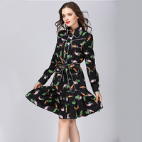 Runway Celebrity Style Women S Elegant Pleated Vestidos HIGH QUALITY Cute Birds Printed Vintage A Line