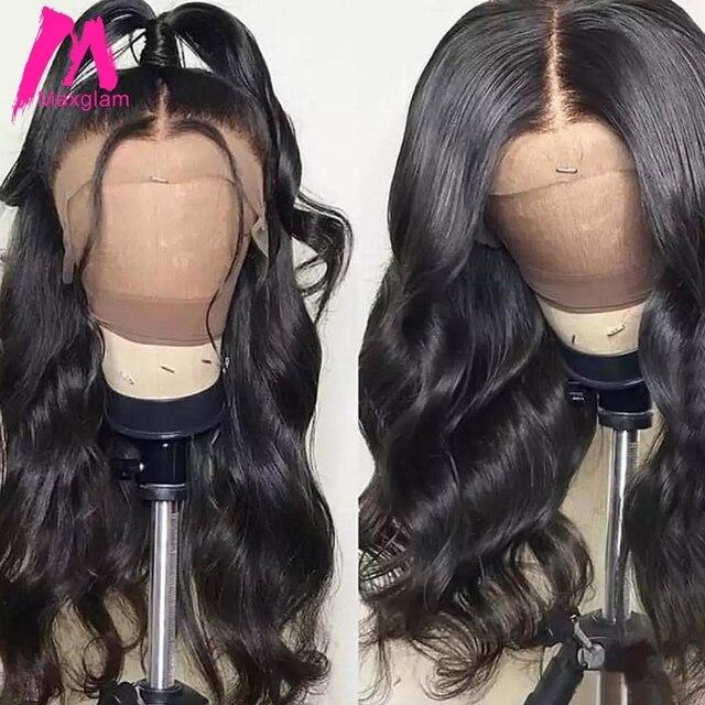 Maxglam 360 peluca frontal de encaje brasileño onda del cuerpo 13x6 pelucas de cabello humano frontal de encaje para mujeres negras predesplumadas con pelo completo para bebé