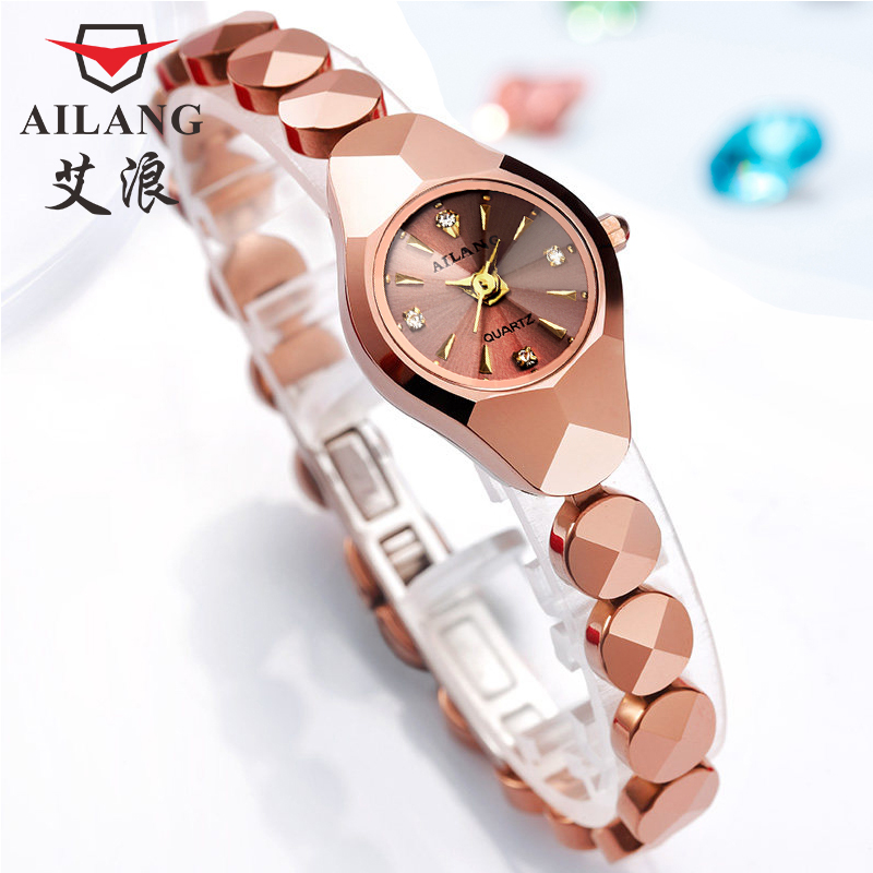 AILANG Women of the luxury brand Waterproof Style Nurse Gold Watch Tungsten Steel Bracelet Quartz Watch Women dom women luxury brand waterproof style quartz watch tungsten steel gold nurse watch bracelet women