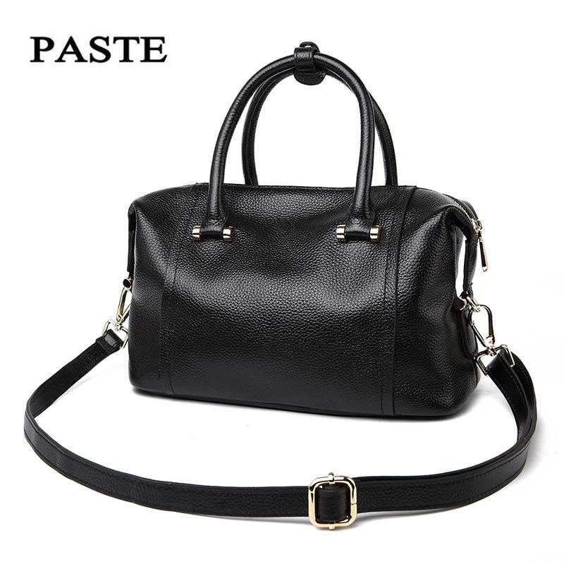 PASTE Boston bag women handbag patent genuine leather cowhide totes shoulder bag female bolsas femininas Messenger Crossbody1008 patent leather handbag shoulder bag for women