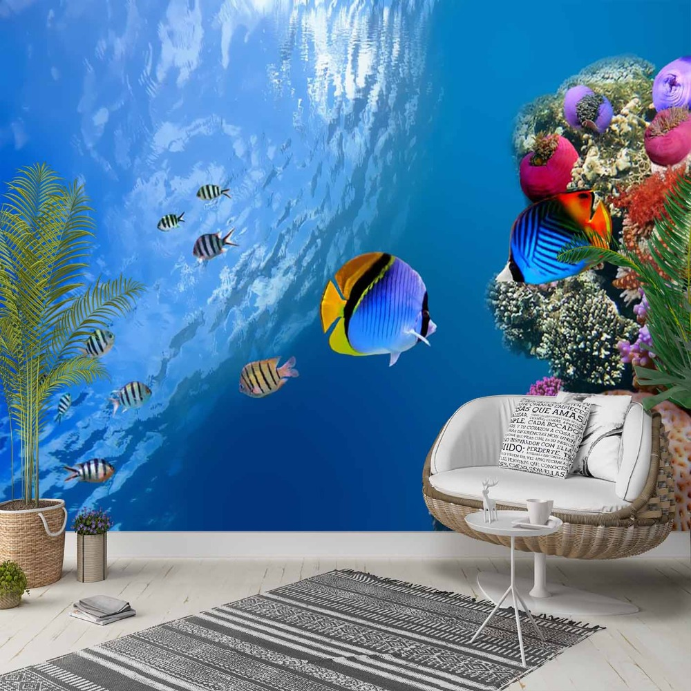 Else Tropical Blue Sea Colored Fishes 3d Print Photo Cleanable Fabric Mural Home Decor Living Room Bedroom Background Wallpaper