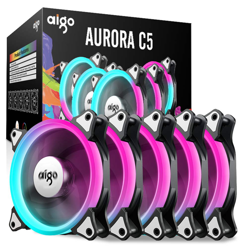 Aigo C3 C5 PC Case Cooling Fan 120mm RGB LED Computer CPU Cooler Aurora Iridescence Low Noise High Airflow Adjustable Color