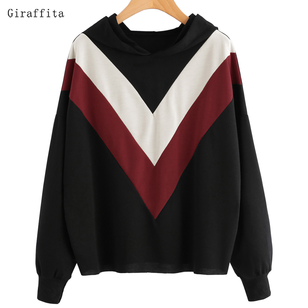 2017 Winter New Fashion Black And White Color Patchwork Hoodies Women V Pattern Pullover Sweatshirt Female Tracksuit