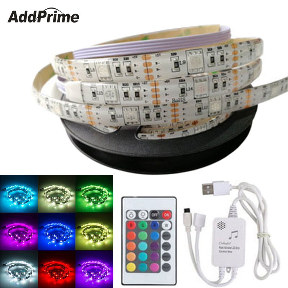 2M 60 LED Music Rhythm LED RGB Light Strip Sound Activated TV Backlight With Music Controller USB Ambient Light Interior Decor pink colors 70 16cm flash car sticker music rhythm led el sheet light lamp sound music activated equalizer