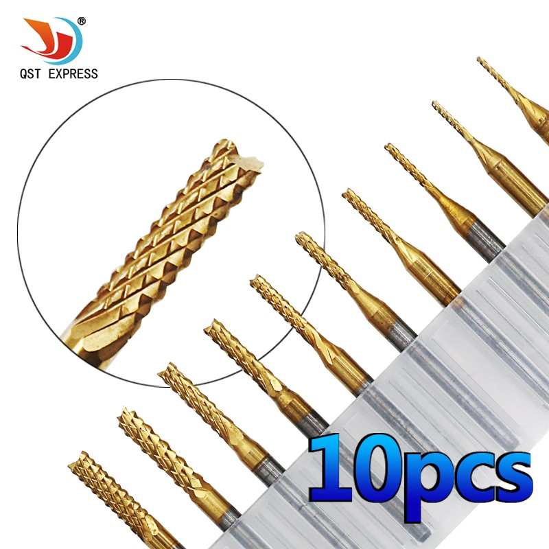 QSTEXPRESS 10Pcs 1/8'' 0.8-3.175mm 0.6-1.5mm PCB Drill Bit Set Engraving Cutter Rotary CNC End Mill