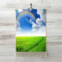 Anders Groen Gras Blauw Witte Wolken Regenbogen 3D Print Decoratieve Gift Wall Art Touw Opknoping Tapijt Tapijt Tasseled Tapestry