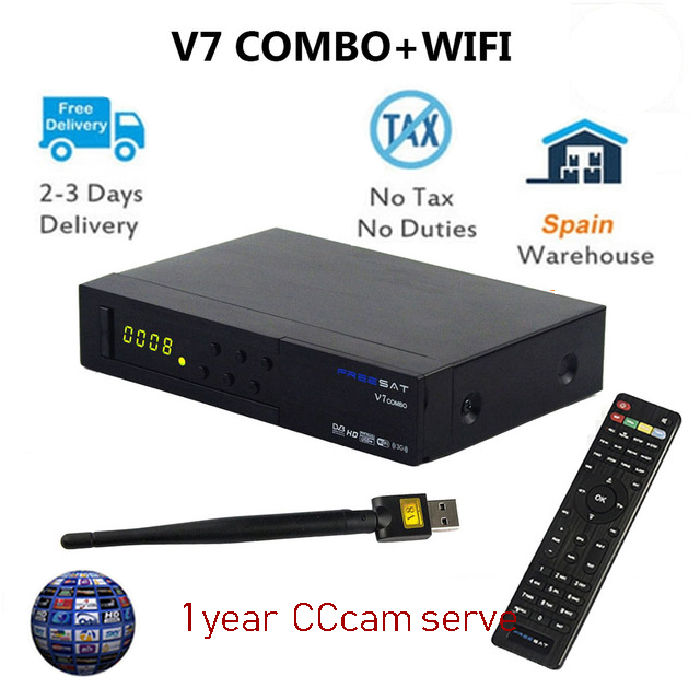 Original Freesat V7 Combo Satellite Receiver DVB S2+DVB T2 Support PowerVu Biss Key CCcam Newcam Youtube + Freesat V7 USB WIFI freesat v7 max dvb s2 satellite tv receiver powervu auto roll biss key support youtube cccam newcamd wifi freesat v7 max
