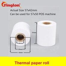 Купить с кэшбэком 18Rolls/case 57x50 cash register paper ECO type thermal paper roll from 43mm POS printer wood plup Free Shipping