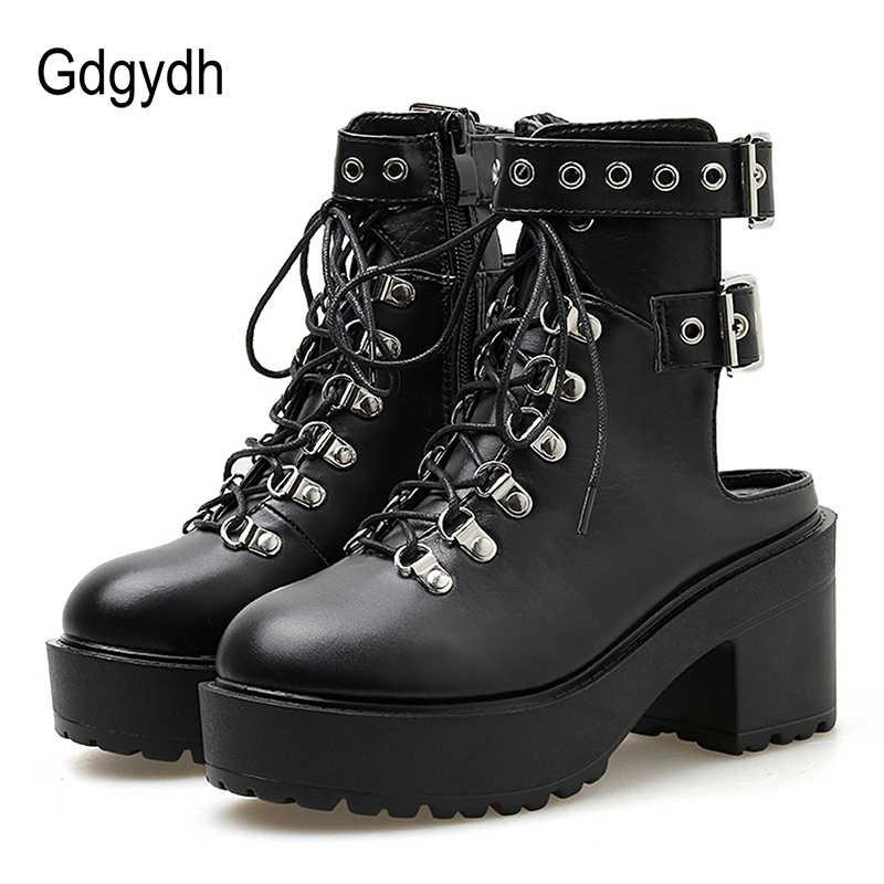 Gdgydh/женские ботильоны на высоком каблуке с петлей на пятке в европейском стиле; Летняя обувь; пикантные ботинки с заклепками на не сужающемся книзу массивном каблуке со шнуровкой; готическая Черная кожа