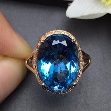 Fine Jewelry Customized Size Real 18K Rose Gold AU750 100% Natural London Blue Topaz Gemstone Female Rings for Women Fine Ring fine jewelry collection real 18k white gold au750 100% natural bluetopaz gemstone brazil origin drop earrings for women