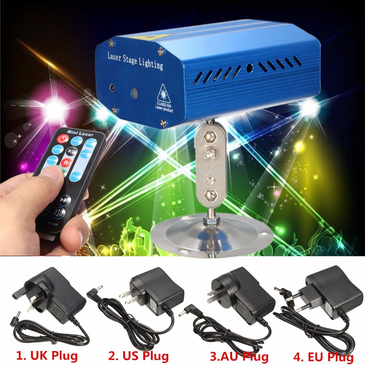 Voice Remote Control Laser Projector Stage Light LED Night Lamp With Holder DJ Club Pub Bar Disco Wedding Party Show Lighting