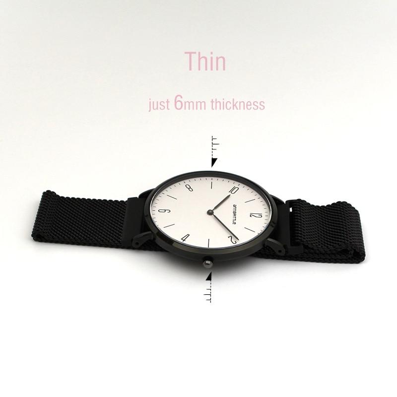 Luksusowe zegarki kwarcowe damskie Super cienkie czarne skórzane - Zegarki damskie - Zdjęcie 6